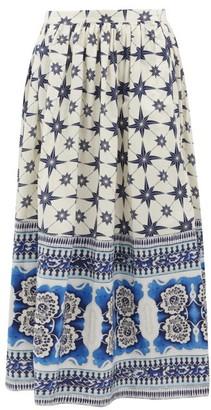 Le Sirenuse Le Sirenuse, Positano - Jane Star-print Cotton-poplin Skirt - Womens - Blue Print