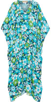 Michael Kors Floral-print Silk-crepe Kaftan - Turquoise