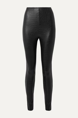 Commando Croc-effect Faux Stretch-leather Leggings - Black