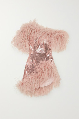 16Arlington Vivien Asymmetric Feather-trimmed Sequined Crepe Mini Dress - Pink