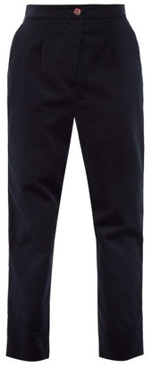 Dolce & Gabbana High-rise Velvet Trousers - Womens - Dark Blue