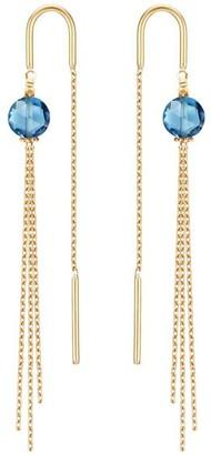 Perle de Lune Medusa Earrings - Blue Topaz, 18K Gold