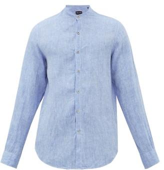 Giorgio Armani Slubbed-linen Fil-a-fil Shirt - Mens - Blue