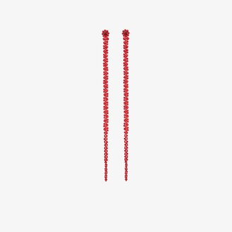 Simone Rocha X Browns 50 Red crystal flower drop earrings