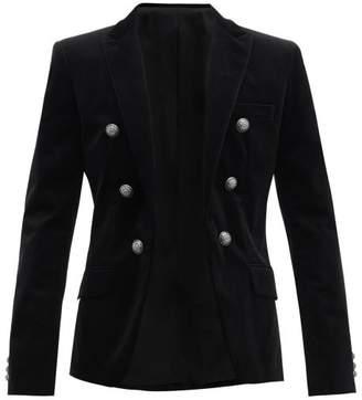 Balmain Double Breasted Velvet Blazer - Mens - Black
