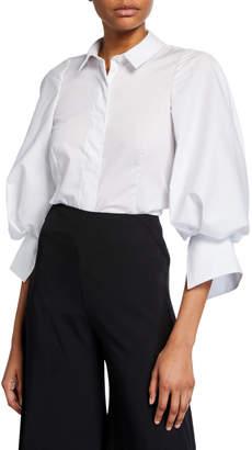 Zac Posen Balloon-Sleeve Button-Front Shirt