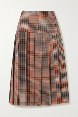 Prada Pleated Checked Wool And Cashmere-blend Tweed Midi Skirt - Brown