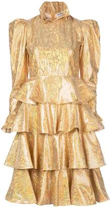 Batsheva Confection holographic tiered dress