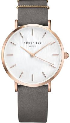 ROSEFIELD WEGR-W75 33MM West Village MOP Dial Rosegold Grey Suede