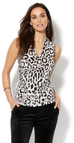 New York & Co. 7th Avenue Design Studio - Chain-Link Detail Sleeveless Shirred Top - Leopard Print