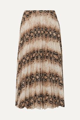 Frankie Shop - Camille Snake-print Pleated Jersey Midi Skirt - Snake print