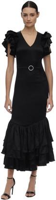 De La Vali Long Ruffled Viscose Dress W/ Belt