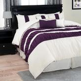 Trademark Global Prisca Royal Purple Striped 7-Piece Queen Comforter Set