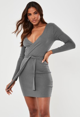 Missguided Grey Rib Long Sleeve Belted Mini Dress