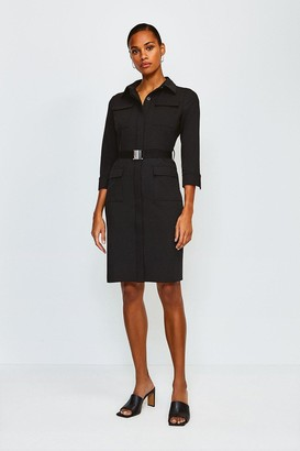 Karen Millen Clean Utility Belted Shirt Dress
