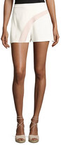 Alexis Stefka Contrast-Stripe Shorts, White