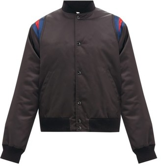 Gucci Band-embroidered Varsity Shell Jacket - Mens - Dark Grey