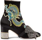 Gucci Women's Candy Embroidered Satin Ankle Boots