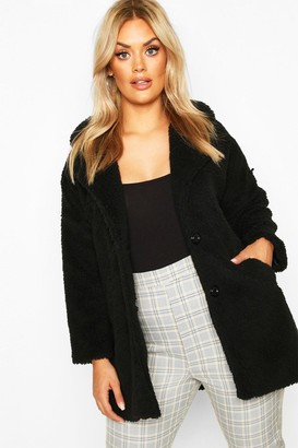 boohoo Plus Faux Fur Teddy Coat