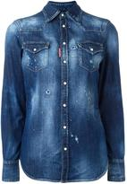 DSQUARED2 distressed denim shirt - women - Cotton/Spandex/Elastane - 38