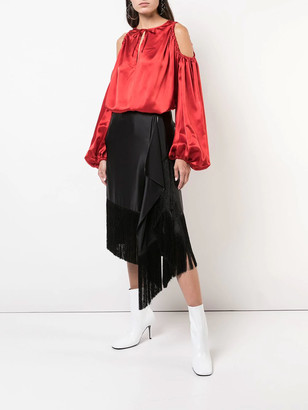 Marques Almeida Cut-out Shoulder Blouse Red