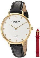 Akribos XXIV Women's Genuine Diamond Gold-Tone Accented Silver Dial with Black Alligator Embossed White Leather Strap and Additional Red Strap Watch AK933YG-BX