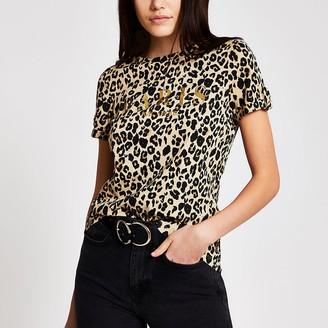 River Island Beige leopard print 'Paris' T-shirt