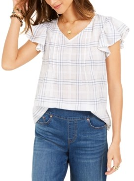 Style&Co. Style & Co Petite Cotton Plaid Flutter-Sleeve Top, Created for Macy's