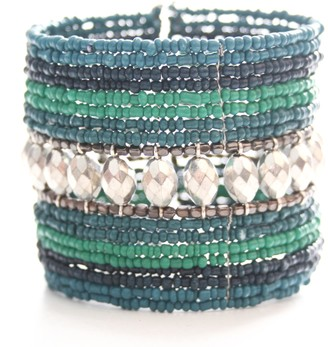 Marc Labat Ethnic Chic Cuff Bracelet 13E168 Women's Silver-Plated Metal and Glass Beads 6 cm