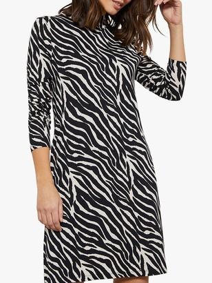 Mint Velvet Zebra Jerse Print Mini Dress, Ivory