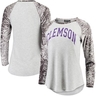 Women's Gray Clemson Tigers A Little Bit Softer Now Crushed Velvet Raglan Long Sleeve T-Shirt