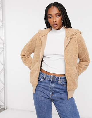 Only finessa zip up teddy bomber jacket in beige