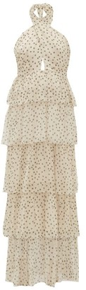 Sir - Isabella Halterneck Polka-dot Silk-chiffon Dress - Khaki