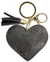 Trimmings Women's Key Ring Faux Leather Heart With Tassel And Stones- Grey/Gold