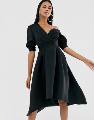 Asos Design DESIGN fallen shoulder tux prom midi dress-Black