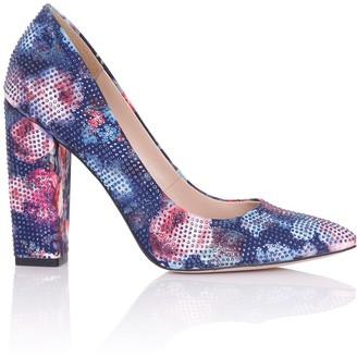 Little Mistress Footwear Asteria Navy Floral Embellished Block Heel Court Shoes