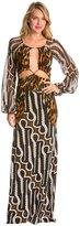 Indah Celia Printed Blouson Open Back Maxi Cover Up Dress 8132275