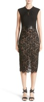 Michael Kors Women's Leather Trim Jersey & Lace Sheath Dress