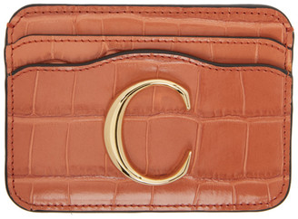 Chloé Orange Croc C Card Holder