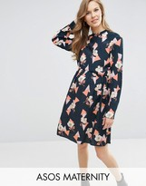 Asos High Neck A line Dress in Geo Floral Print