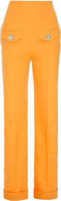 George Keburia High-Rise Straight-Leg Linen Pants