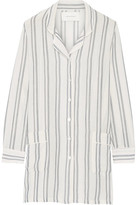 Solid and Striped - The Britt Striped Basketweave Cotton Shirt - White