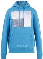 Off-White Sea-print hooded cotton sweatshirt