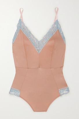 Dora Larsen Ottalie Corded Lace-trimmed Satin-jersey Bodysuit - Peach