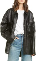 R 13 Fringe Pocket Leather Shirt Jacket
