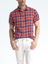 Camden-Fit Plaid Linen Short-Sleeve Shirt