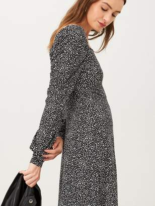 Very Printed Animal Square Neck Jersey Mini Dress - Monochrome