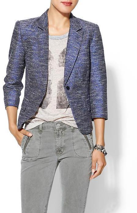 Juicy Couture Rhyme Los Angeles Metallic Tweed Blazer
