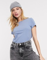 Weekday Forever cropped classic t-shirt in dove blue