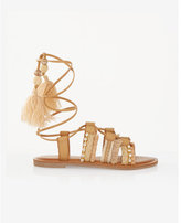 Express straw tassel lace-up sandal